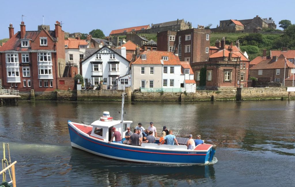 Whitby Fishing Charter Boat Libby Leaving Whitby Harbour